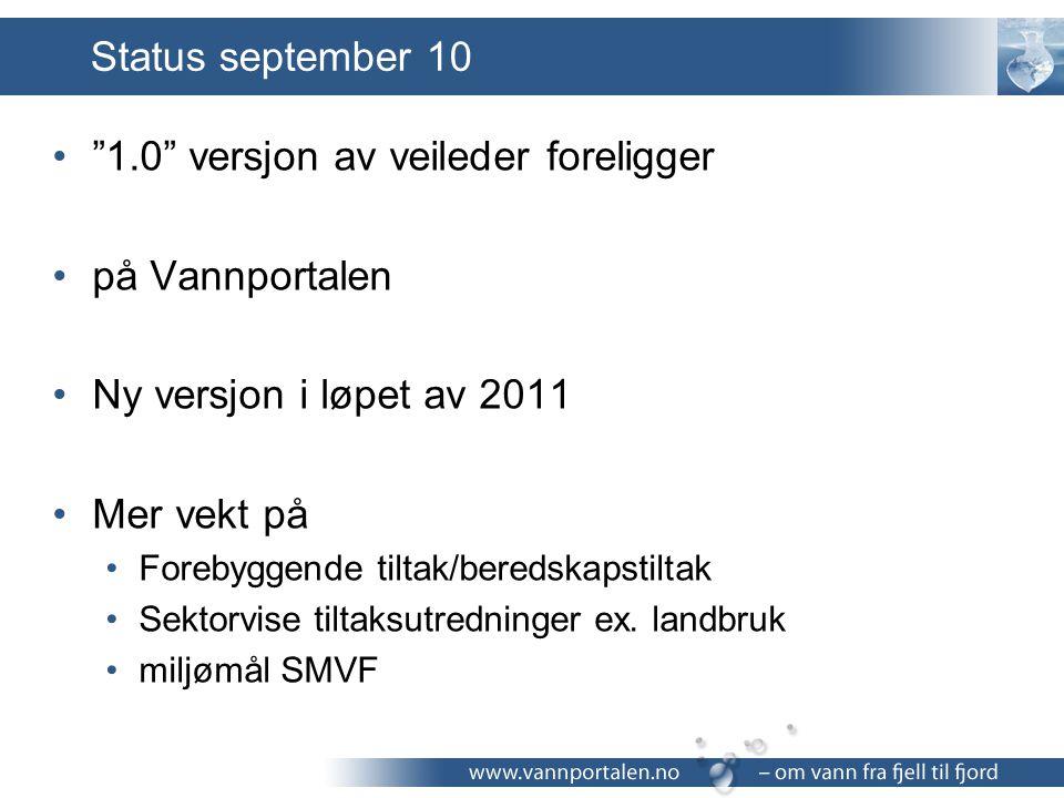 """Status september 10 """"1.0"""" versjon av veileder foreligger på Vannportalen Ny versjon i løpet av 2011 Mer vekt på Forebyggende tiltak/beredskapstiltak S"""