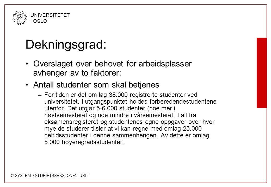 © SYSTEM- OG DRIFTSSEKSJONEN, USIT UNIVERSITETET I OSLO Dekningsgrad: Overslaget over behovet for arbeidsplasser avhenger av to faktorer: Antall stude