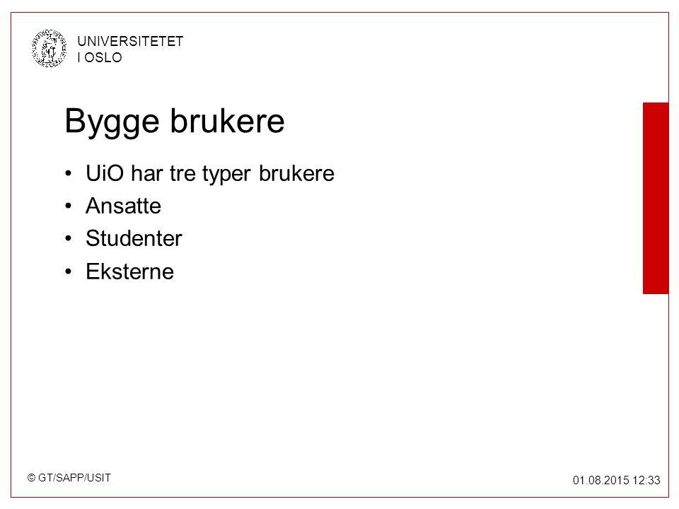 © GT/SAPP/USIT UNIVERSITETET I OSLO 01.08.2015 12:34 Bygge brukere UiO har tre typer brukere Ansatte Studenter Eksterne