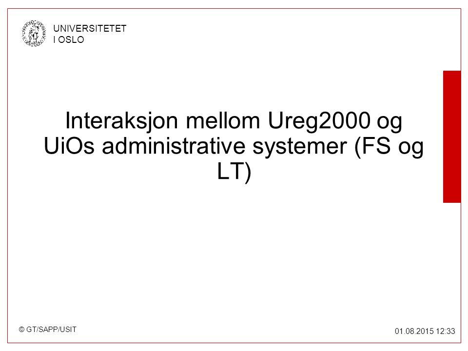 © GT/SAPP/USIT UNIVERSITETET I OSLO 01.08.2015 12:34 Interaksjon mellom Ureg2000 og UiOs administrative systemer (FS og LT)