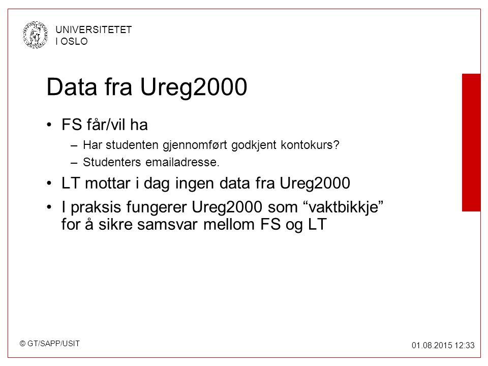 © GT/SAPP/USIT UNIVERSITETET I OSLO 01.08.2015 12:34 Data fra Ureg2000 FS får/vil ha –Har studenten gjennomført godkjent kontokurs.