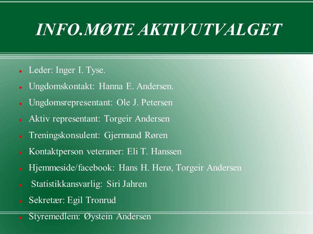 INFO.MØTE AKTIVUTVALGET Leder: Inger I. Tyse. Ungdomskontakt: Hanna E.