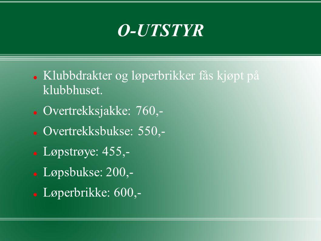 O-UTSTYR Klubbdrakter og løperbrikker fås kjøpt på klubbhuset.