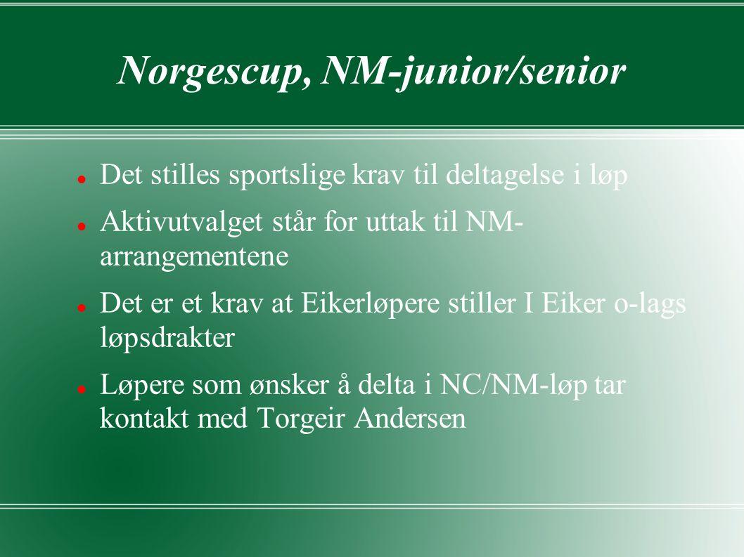 Norgescup, NM-junior/senior Det stilles sportslige krav til deltagelse i løp Aktivutvalget står for uttak til NM- arrangementene Det er et krav at Eikerløpere stiller I Eiker o-lags løpsdrakter Løpere som ønsker å delta i NC/NM-løp tar kontakt med Torgeir Andersen