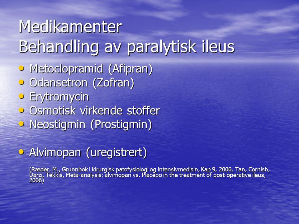 Medikamenter Behandling av paralytisk ileus Metoclopramid (Afipran) Metoclopramid (Afipran) Odansetron (Zofran) Odansetron (Zofran) Erytromycin Erytro
