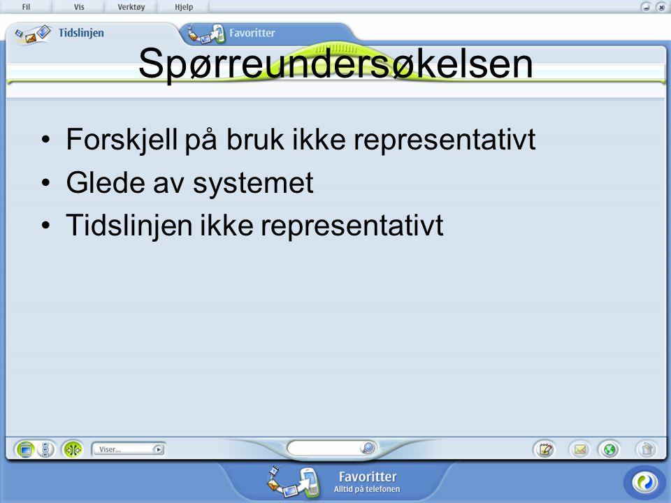 Spørreundersøkelsen Forskjell på bruk ikke representativt Glede av systemet Tidslinjen ikke representativt