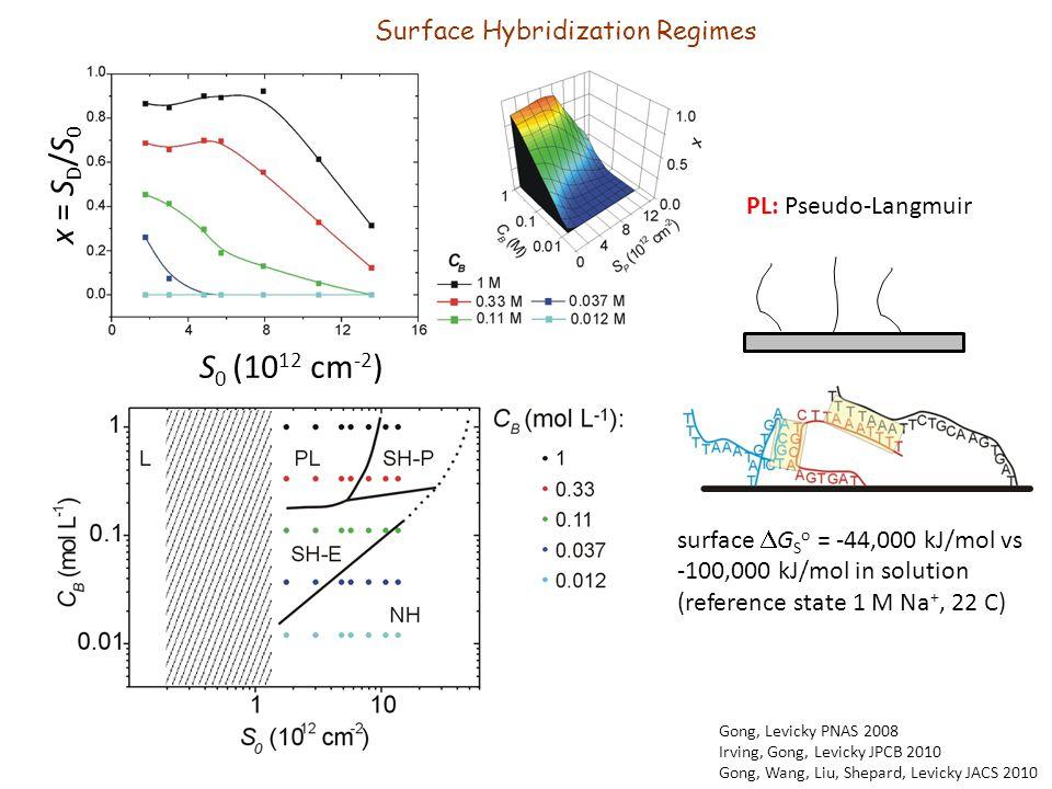 x = S D /S 0 S 0 (10 12 cm -2 ) PL: Pseudo-Langmuir surface  G S o = -44,000 kJ/mol vs -100,000 kJ/mol in solution (reference state 1 M Na +, 22 C) Gong, Levicky PNAS 2008 Irving, Gong, Levicky JPCB 2010 Gong, Wang, Liu, Shepard, Levicky JACS 2010 Surface Hybridization Regimes