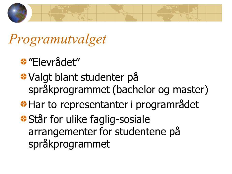 Programutvalget Elevrådet Valgt blant studenter på språkprogrammet (bachelor og master) Har to representanter i programrådet Står for ulike faglig-sosiale arrangementer for studentene på språkprogrammet