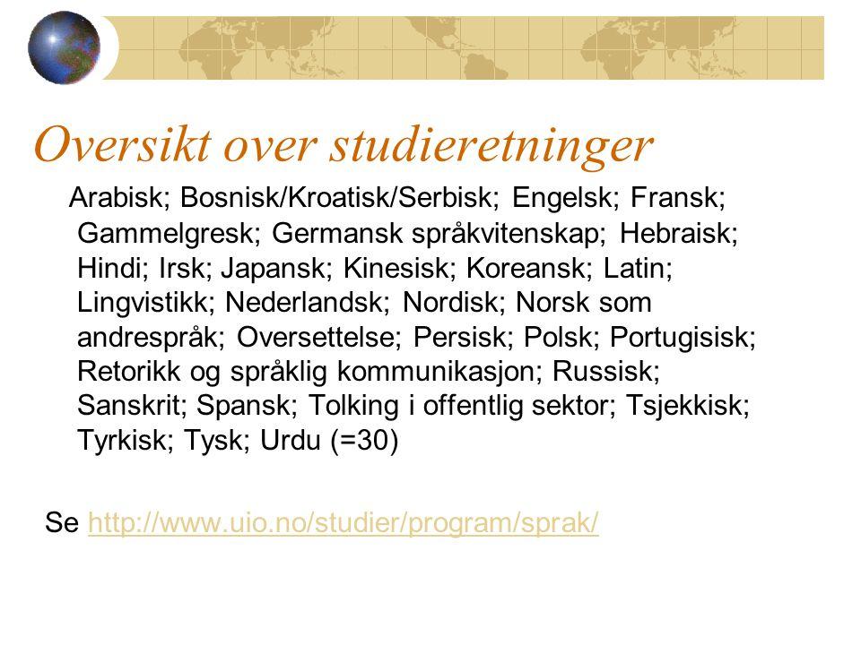 Oversikt over studieretninger Arabisk; Bosnisk/Kroatisk/Serbisk; Engelsk; Fransk; Gammelgresk; Germansk språkvitenskap; Hebraisk; Hindi; Irsk; Japansk