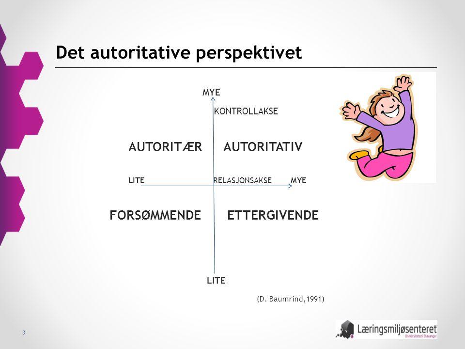 3 Det autoritative perspektivet MYE KONTROLLAKSE AUTORITÆR AUTORITATIV LITE RELASJONSAKSE MYE FORSØMMENDE ETTERGIVENDE LITE (D. Baumrind,1991)