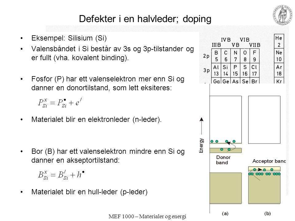 MEF 1000 – Materialer og energi Defekter i en halvleder; doping Eksempel: Silisium (Si) Valensbåndet i Si består av 3s og 3p-tilstander og er fullt (vha.