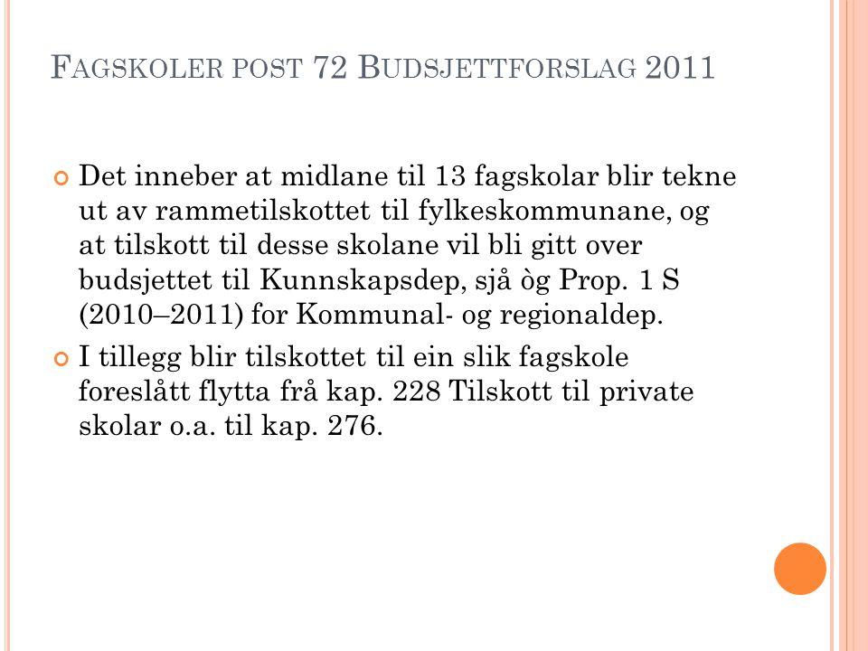 F AGSKOLER POST 72 B UDSJETTFORSLAG 2011 Det inneber at midlane til 13 fagskolar blir tekne ut av rammetilskottet til fylkeskommunane, og at tilskott