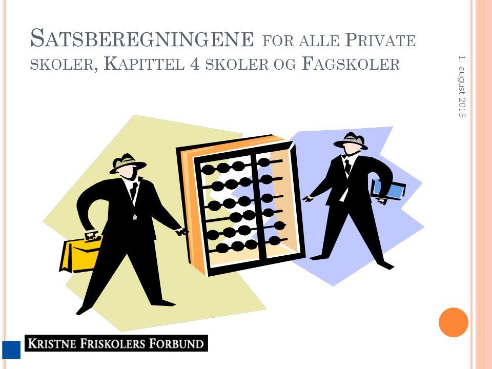 S ATSBEREGNINGENE FOR ALLE P RIVATE SKOLER, K APITTEL 4 SKOLER OG F AGSKOLER 1. august 2015