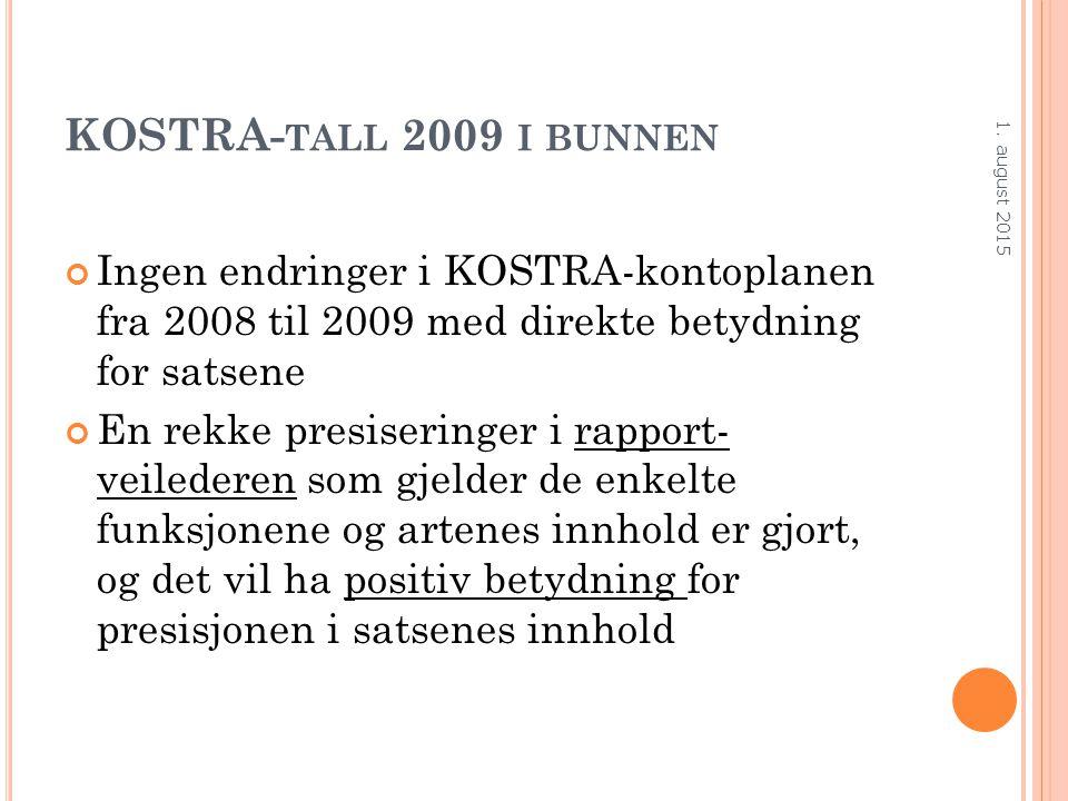 KOSTRA- TALL 2009 I BUNNEN Ingen endringer i KOSTRA-kontoplanen fra 2008 til 2009 med direkte betydning for satsene En rekke presiseringer i rapport-