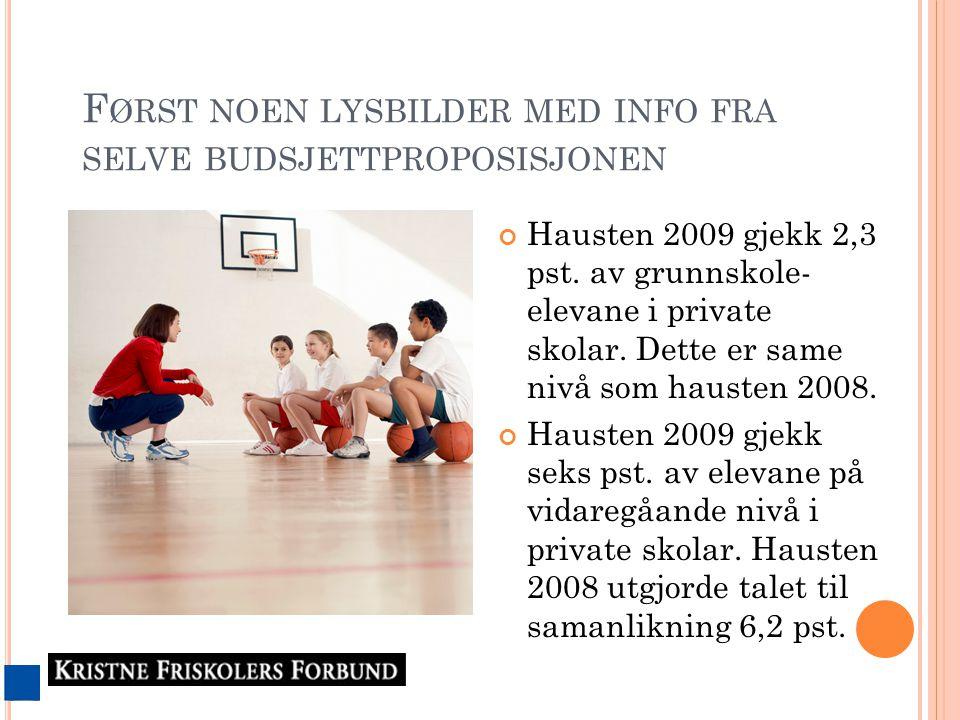 F ØRST NOEN LYSBILDER MED INFO FRA SELVE BUDSJETTPROPOSISJONEN Hausten 2009 gjekk 2,3 pst.