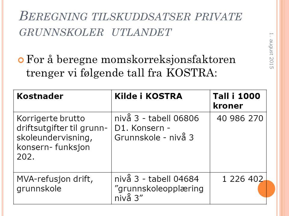 B EREGNING TILSKUDDSATSER PRIVATE GRUNNSKOLER UTLANDET For å beregne momskorreksjonsfaktoren trenger vi følgende tall fra KOSTRA: 1. august 2015 Kostn