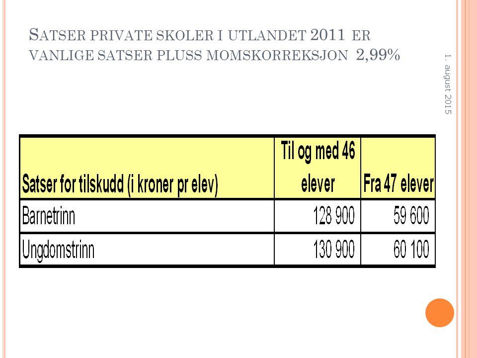 S ATSER PRIVATE SKOLER I UTLANDET 2011 ER VANLIGE SATSER PLUSS MOMSKORREKSJON 2,99% 1. august 2015
