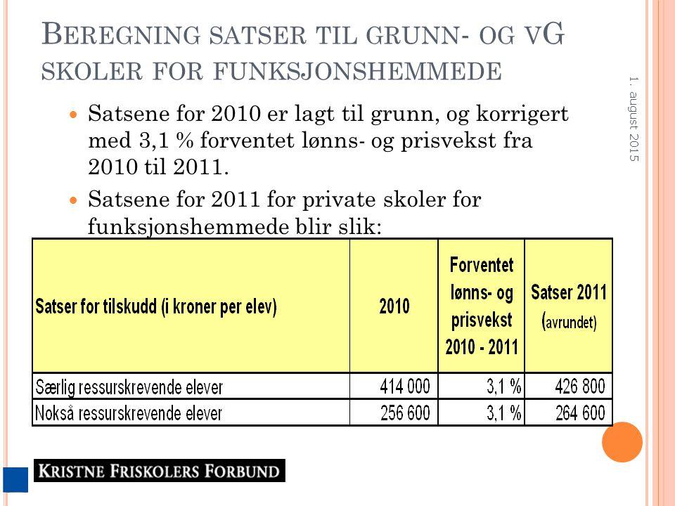 B EREGNING SATSER TIL GRUNN - OG V G SKOLER FOR FUNKSJONSHEMMEDE Satsene for 2010 er lagt til grunn, og korrigert med 3,1 % forventet lønns- og prisvekst fra 2010 til 2011.