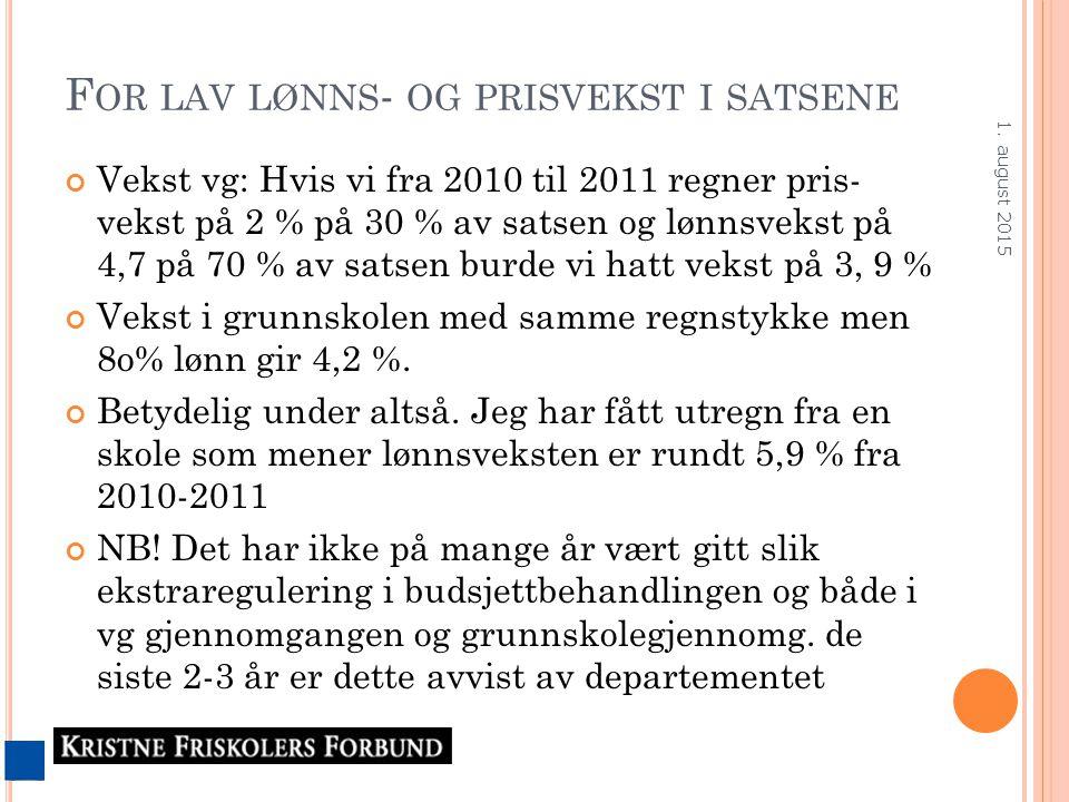 F OR LAV LØNNS - OG PRISVEKST I SATSENE Vekst vg: Hvis vi fra 2010 til 2011 regner pris- vekst på 2 % på 30 % av satsen og lønnsvekst på 4,7 på 70 % a