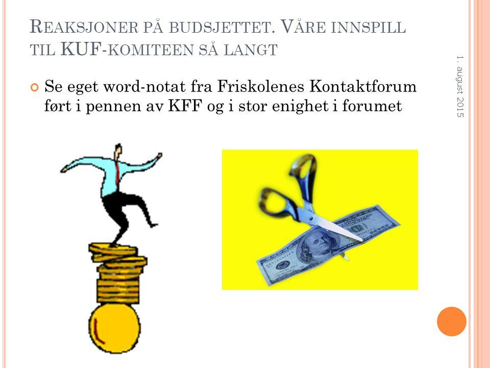 R EAKSJONER PÅ BUDSJETTET.