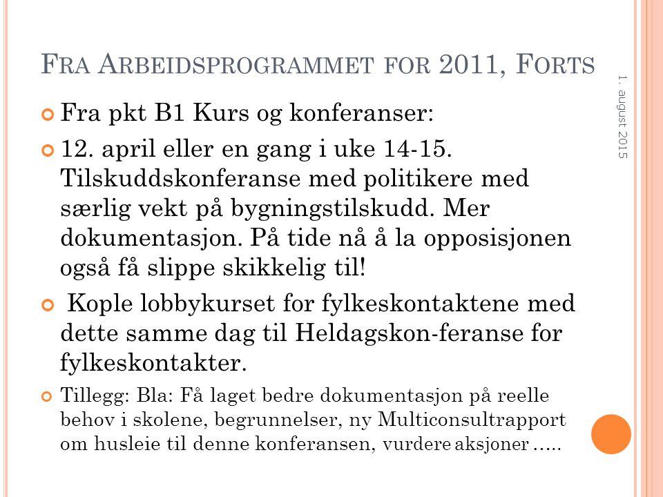 F RA A RBEIDSPROGRAMMET FOR 2011, F ORTS Fra pkt B1 Kurs og konferanser: 12. april eller en gang i uke 14-15. Tilskuddskonferanse med politikere med s