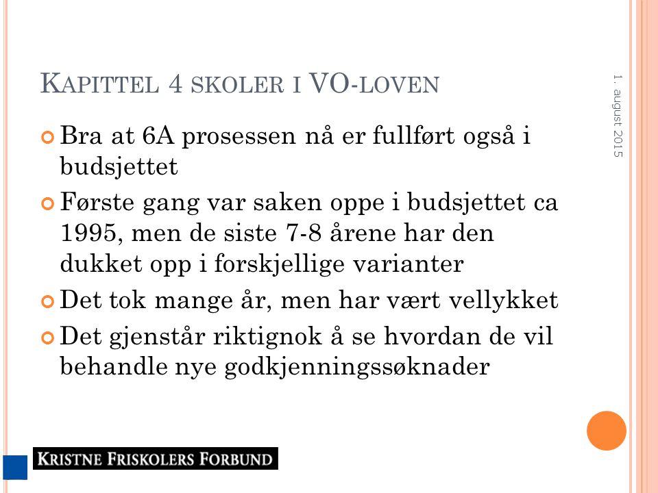 K APITTEL 4 SKOLER I VO- LOVEN Bra at 6A prosessen nå er fullført også i budsjettet Første gang var saken oppe i budsjettet ca 1995, men de siste 7-8