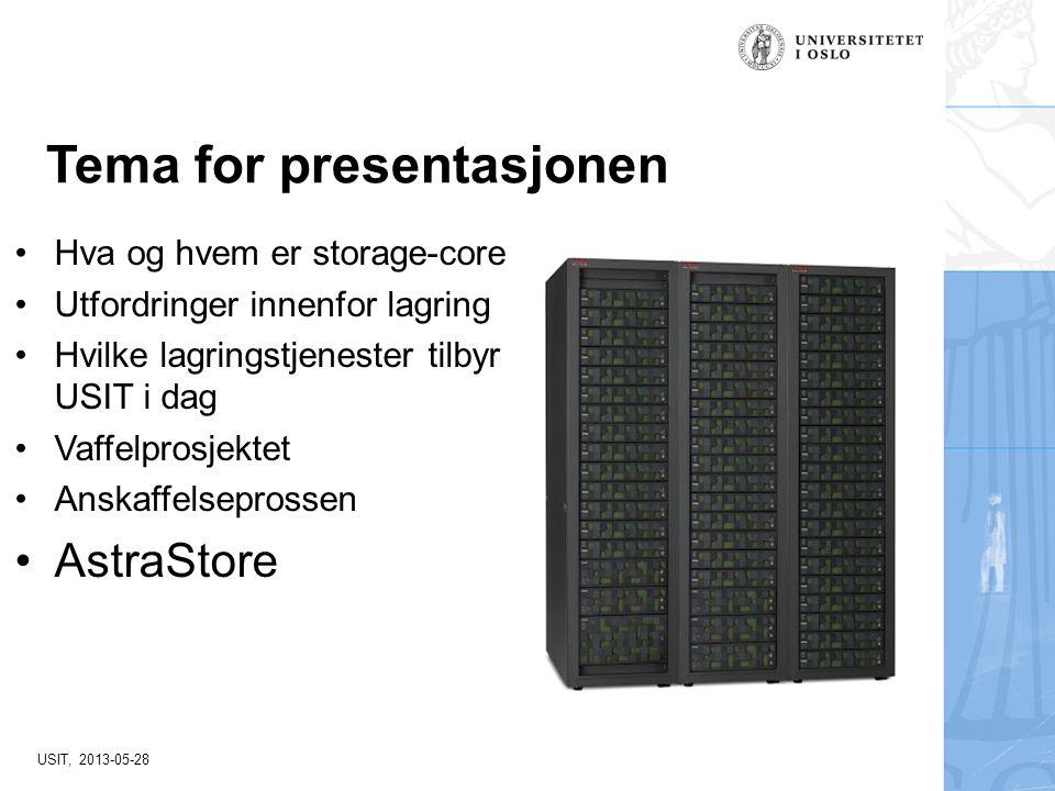 USIT, 2013-05-28 Tema for presentasjonen Hva og hvem er storage-core Utfordringer innenfor lagring Hvilke lagringstjenester tilbyr USIT i dag Vaffelpr