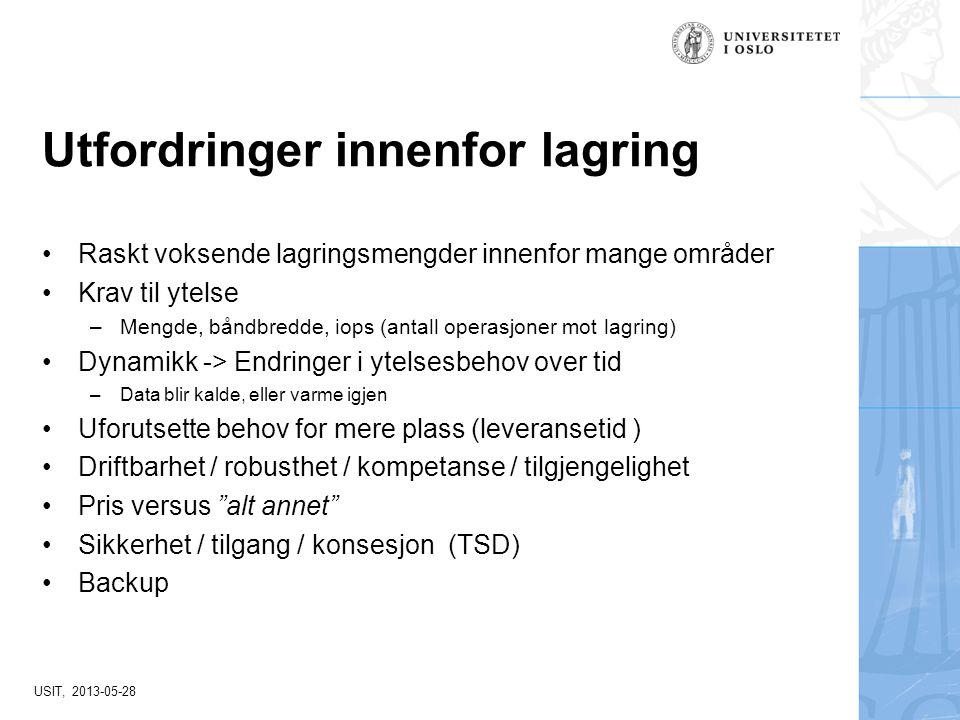 USIT, 2013-05-28 Utfordringer innenfor lagring Raskt voksende lagringsmengder innenfor mange områder Krav til ytelse –Mengde, båndbredde, iops (antall
