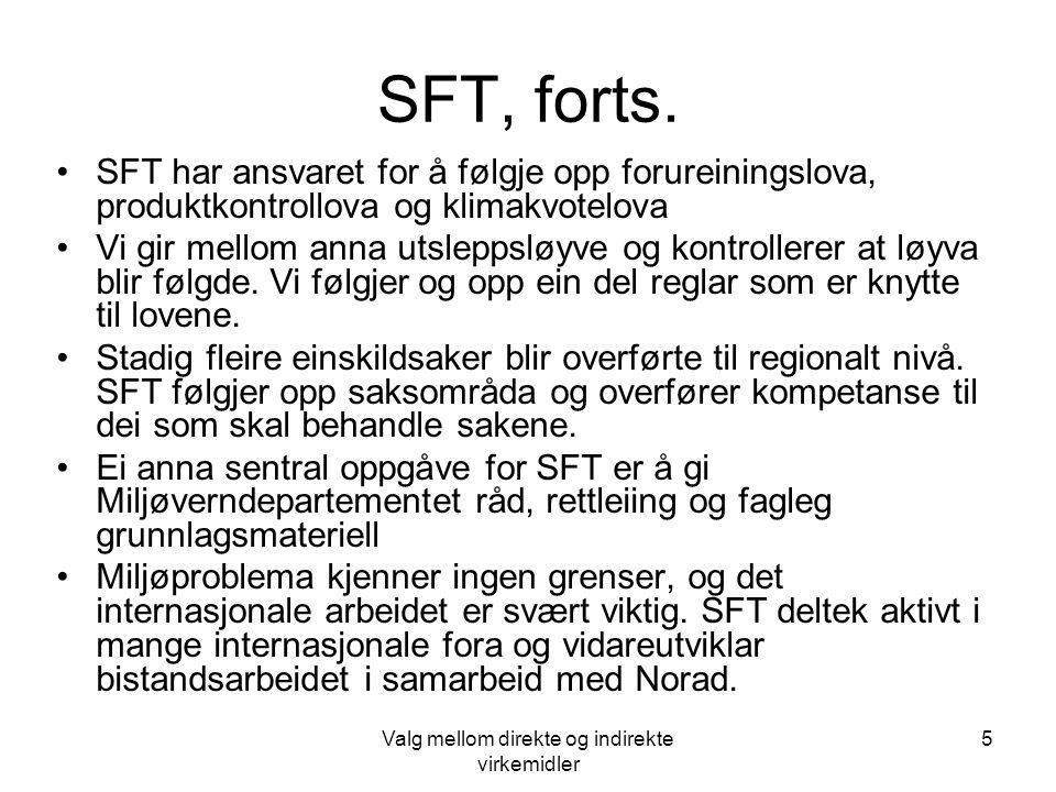 Valg mellom direkte og indirekte virkemidler 5 SFT, forts. SFT har ansvaret for å følgje opp forureiningslova, produktkontrollova og klimakvotelova Vi