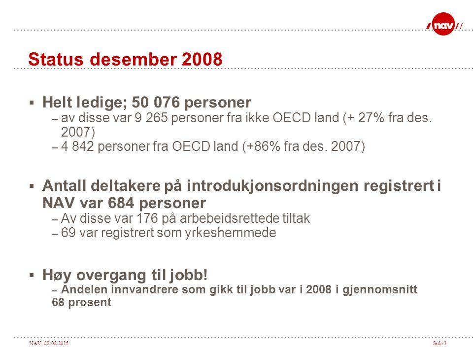 NAV, 02.08.2015Side 3 Status desember 2008  Helt ledige; 50 076 personer – av disse var 9 265 personer fra ikke OECD land (+ 27% fra des.