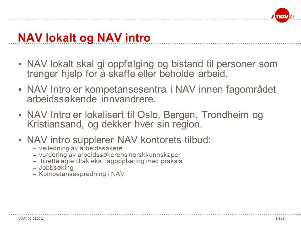 NAV, 02.08.2015Side 6 NAV lokalt og NAV intro  NAV lokalt skal gi oppfølging og bistand til personer som trenger hjelp for å skaffe eller beholde arbeid.