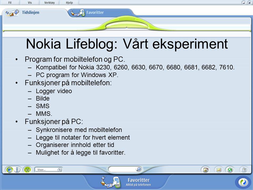 Nokia Lifeblog: Vårt eksperiment Program for mobiltelefon og PC.