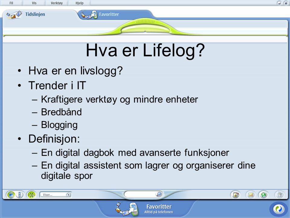 Hensikten med prosjektet Idéer og eksisterende systemer Brukerundersøkelse av et Lifelog lignende system Vårt forslag til et Lifelog system Hvilke konsekvenser fører Lifelog til.
