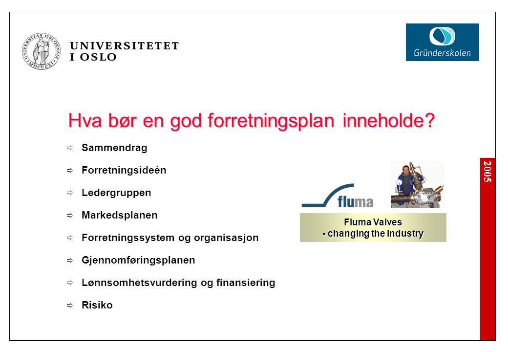 2005 Hva bør en god forretningsplan inneholde?  Sammendrag  Forretningsideén  Ledergruppen  Markedsplanen  Forretningssystem og organisasjon  Gj