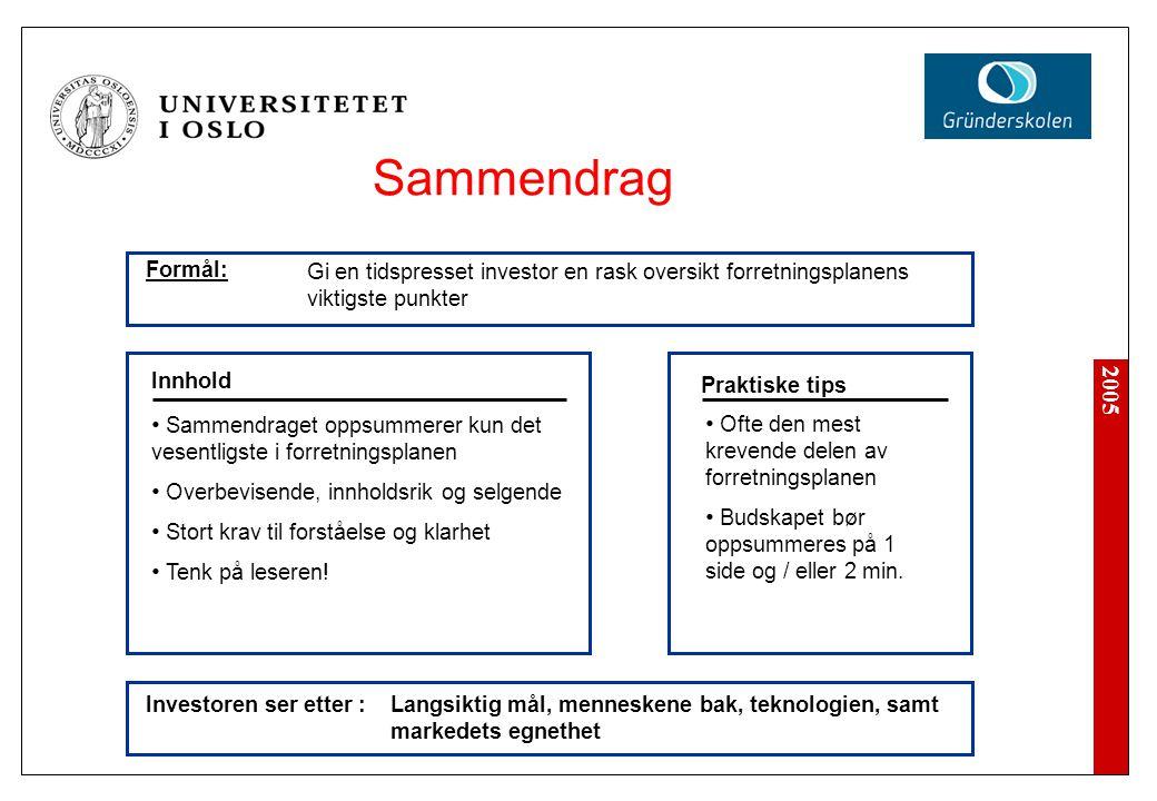 2005 Sammendraget oppsummerer kun det vesentligste i forretningsplanen Overbevisende, innholdsrik og selgende Stort krav til forståelse og klarhet Ten