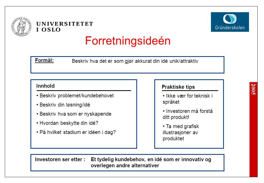 2005 Investoren ser etter : Ikke vær for teknisk i språket Investoren må forstå ditt produkt! Ta med grafisk illustrasjoner av produktet Innhold Prakt