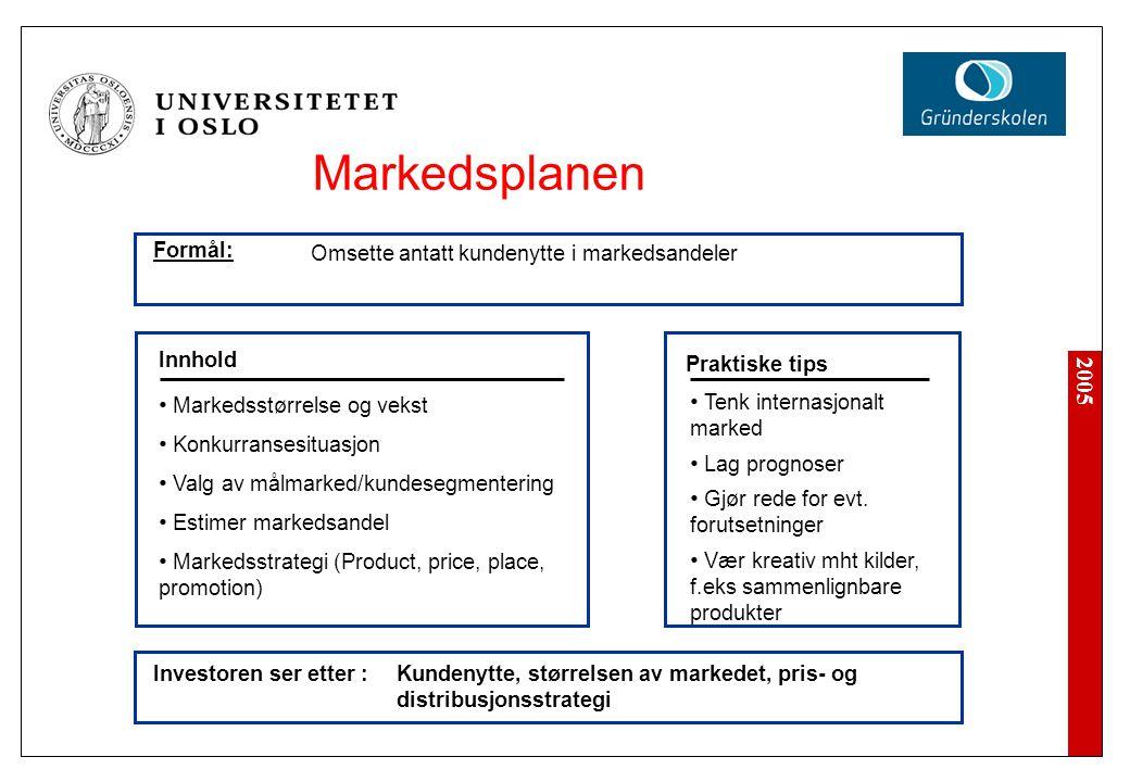 2005 Markedsplanen Investoren ser etter : Tenk internasjonalt marked Lag prognoser Gjør rede for evt. forutsetninger Vær kreativ mht kilder, f.eks sam