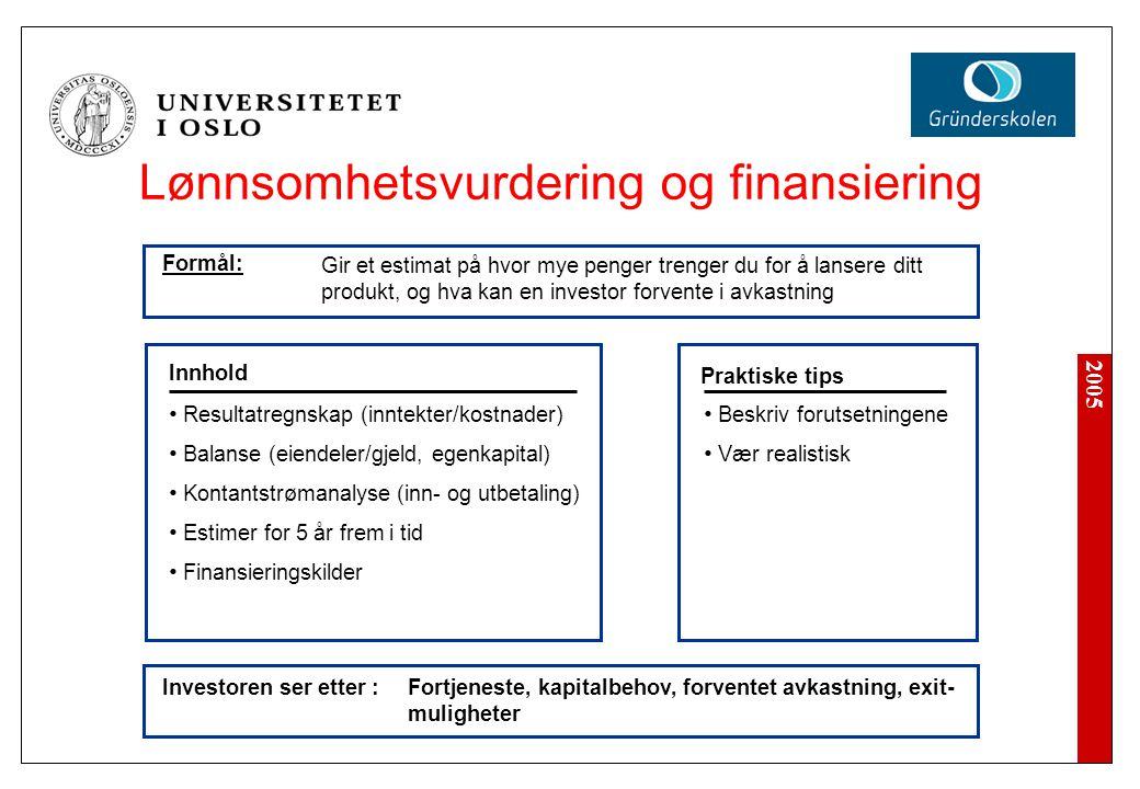 2005 Lønnsomhetsvurdering og finansiering Investoren ser etter : Beskriv forutsetningene Vær realistisk Innhold Praktiske tips Resultatregnskap (innte