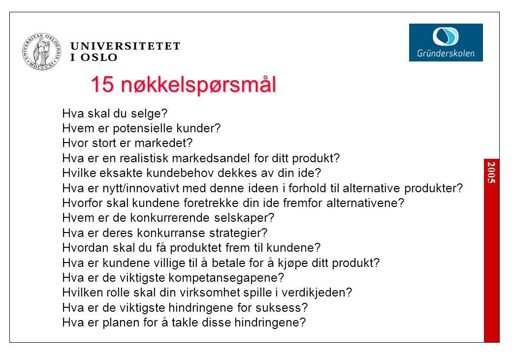 15 nøkkelspørsmål Hva skal du selge? Hvem er potensielle kunder? Hvor stort er markedet? Hva er en realistisk markedsandel for ditt produkt? Hvilke ek