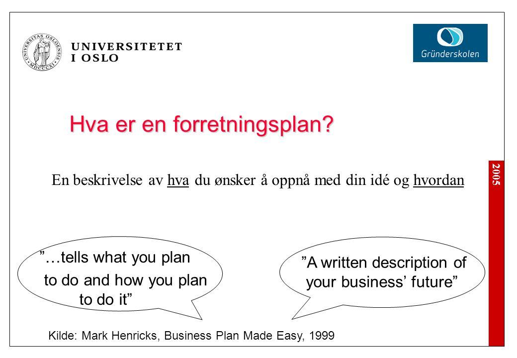 """2005 Hva er en forretningsplan? Kilde: Mark Henricks, Business Plan Made Easy, 1999 """"A written description of your business' future"""" """"…tells what you"""