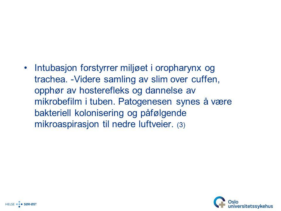 Intubasjon forstyrrer miljøet i oropharynx og trachea.