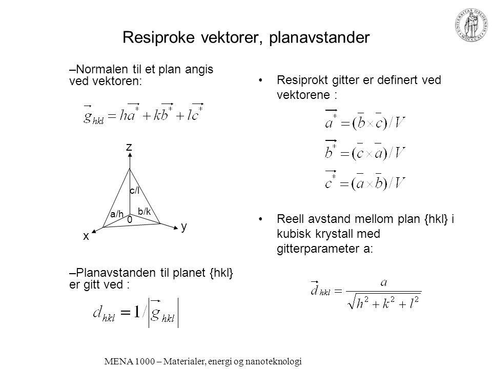 MENA 1000 – Materialer, energi og nanoteknologi Resiproke vektorer, planavstander Resiprokt gitter er definert ved vektorene : Reell avstand mellom plan {hkl} i kubisk krystall med gitterparameter a: –Normalen til et plan angis ved vektoren: –Planavstanden til planet {hkl} er gitt ved : y z x c/l 0 a/h b/k