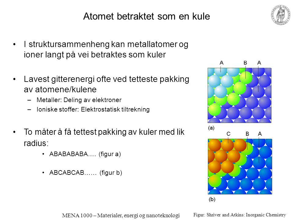 MENA 1000 – Materialer, energi og nanoteknologi Atomet betraktet som en kule I struktursammenheng kan metallatomer og ioner langt på vei betraktes som kuler Lavest gitterenergi ofte ved tetteste pakking av atomene/kulene –Metaller: Deling av elektroner –Ioniske stoffer: Elektrostatisk tiltrekning To måter å få tettest pakking av kuler med lik radius: ABABABABA….