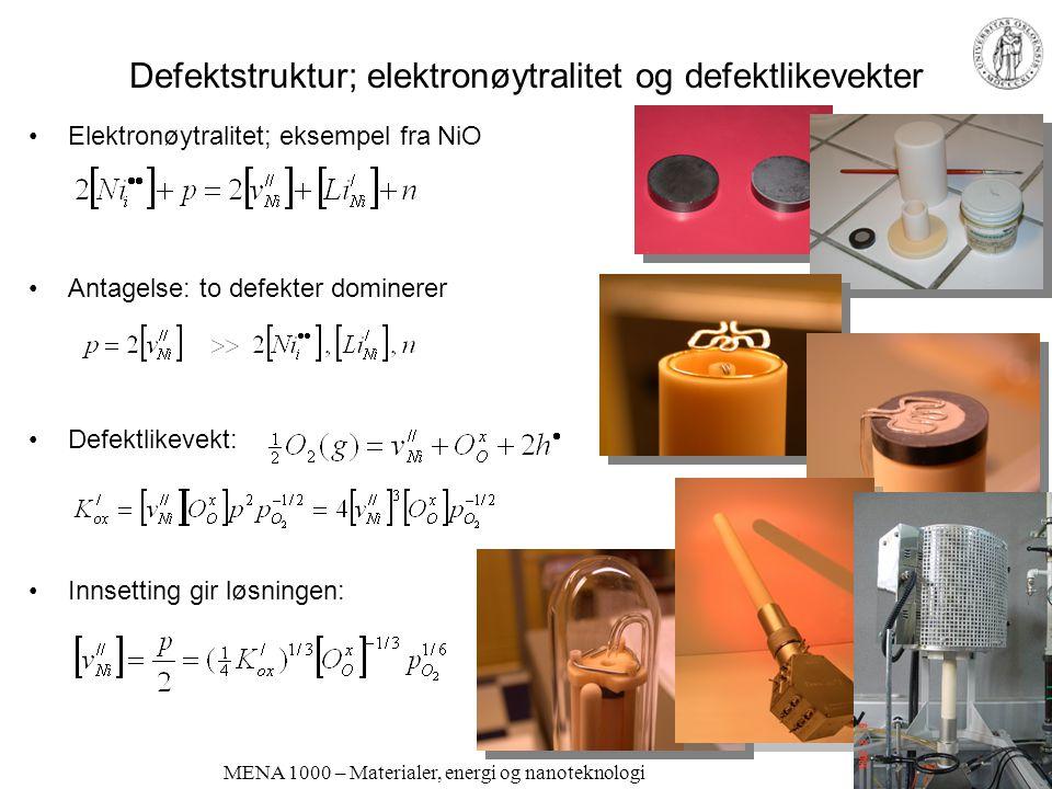 MENA 1000 – Materialer, energi og nanoteknologi Defektstruktur; elektronøytralitet og defektlikevekter Elektronøytralitet; eksempel fra NiO Antagelse: to defekter dominerer Defektlikevekt: Innsetting gir løsningen: