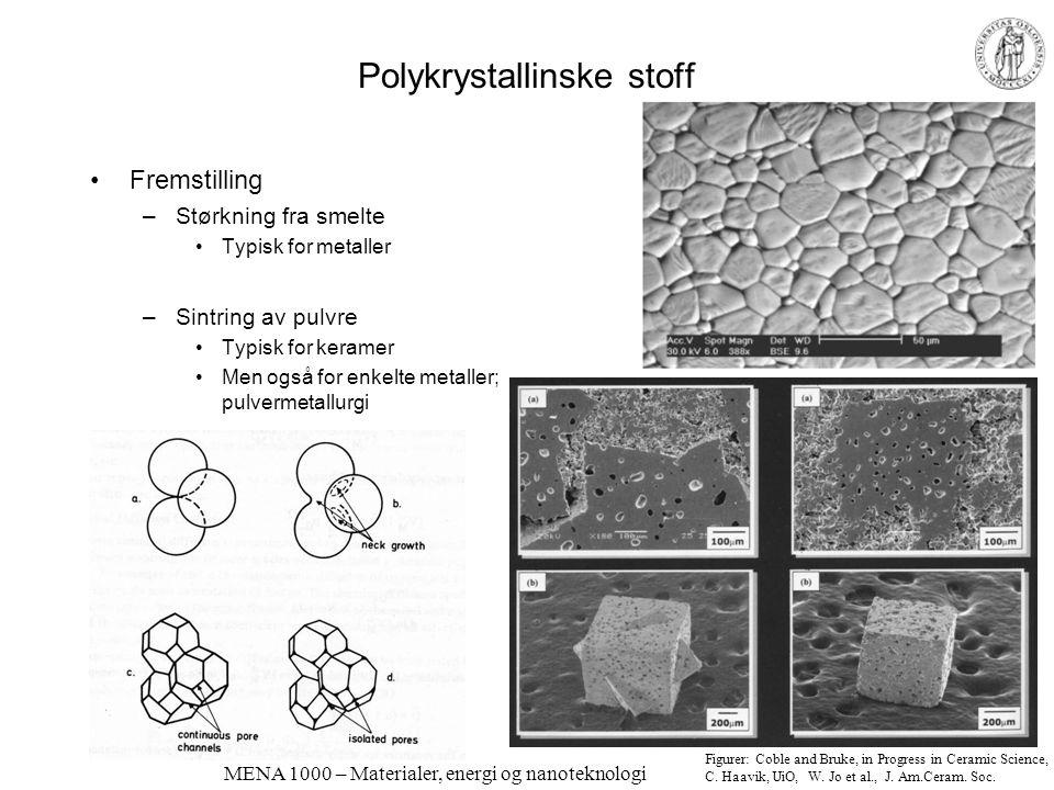 MENA 1000 – Materialer, energi og nanoteknologi Polykrystallinske stoff Fremstilling –Størkning fra smelte Typisk for metaller –Sintring av pulvre Typ