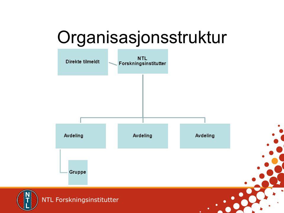 Organisasjonsstruktur NTL Forskningsinstitutter Avdeling Gruppe Avdeling Direkte tilmeldt