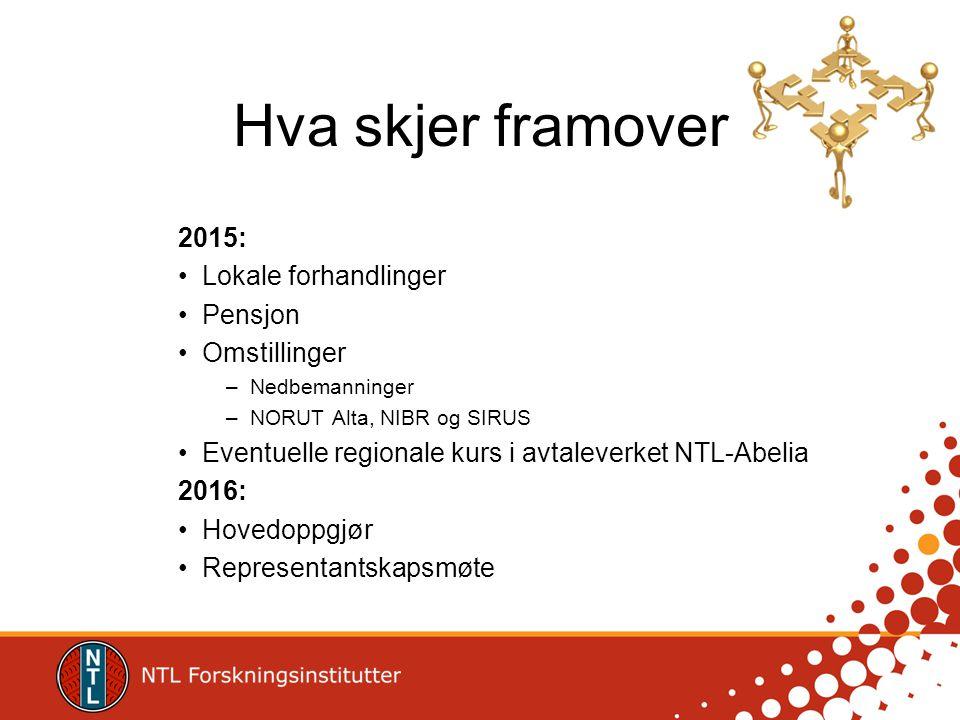 Hva skjer framover 2015: Lokale forhandlinger Pensjon Omstillinger –Nedbemanninger –NORUT Alta, NIBR og SIRUS Eventuelle regionale kurs i avtaleverket