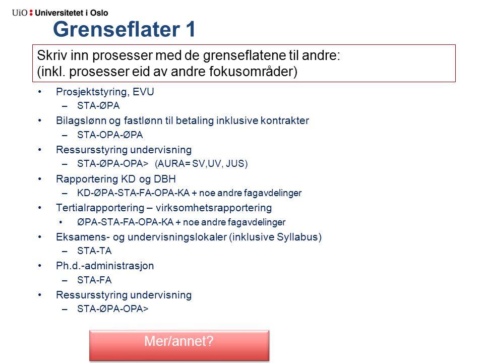 Grenseflater 1 Prosjektstyring, EVU –STA-ØPA Bilagslønn og fastlønn til betaling inklusive kontrakter –STA-OPA-ØPA Ressursstyring undervisning –STA-ØPA-OPA> (AURA= SV,UV, JUS) Rapportering KD og DBH –KD-ØPA-STA-FA-OPA-KA + noe andre fagavdelinger Tertialrapportering – virksomhetsrapportering ØPA-STA-FA-OPA-KA + noe andre fagavdelinger Eksamens- og undervisningslokaler (inklusive Syllabus) –STA-TA Ph.d.-administrasjon –STA-FA Ressursstyring undervisning –STA-ØPA-OPA> Skriv inn prosesser med de grenseflatene til andre: (inkl.