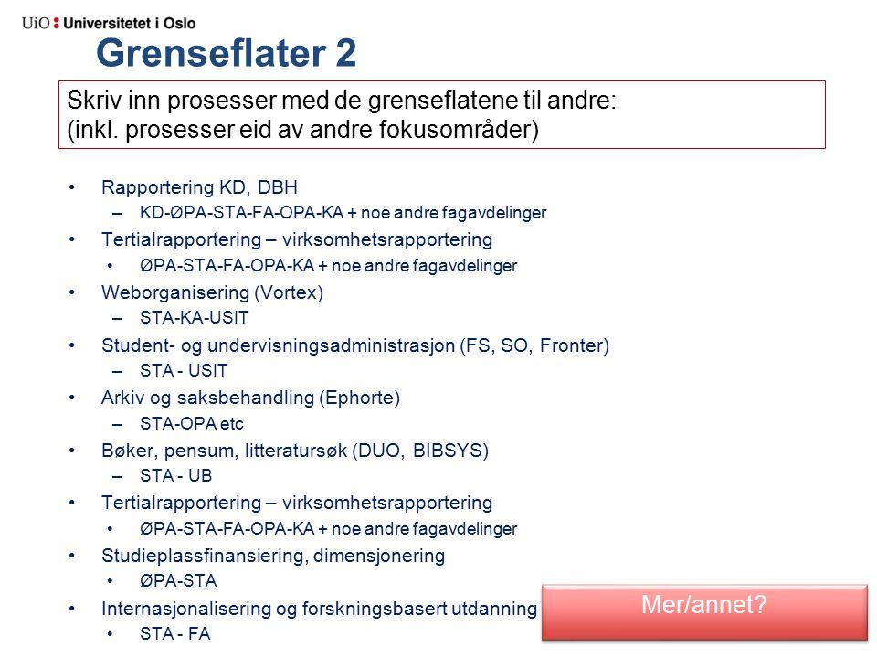 Grenseflater 2 Rapportering KD, DBH –KD-ØPA-STA-FA-OPA-KA + noe andre fagavdelinger Tertialrapportering – virksomhetsrapportering ØPA-STA-FA-OPA-KA + noe andre fagavdelinger Weborganisering (Vortex) –STA-KA-USIT Student- og undervisningsadministrasjon (FS, SO, Fronter) –STA - USIT Arkiv og saksbehandling (Ephorte) –STA-OPA etc Bøker, pensum, litteratursøk (DUO, BIBSYS) –STA - UB Tertialrapportering – virksomhetsrapportering ØPA-STA-FA-OPA-KA + noe andre fagavdelinger Studieplassfinansiering, dimensjonering ØPA-STA Internasjonalisering og forskningsbasert utdanning STA - FA Mer/annet.