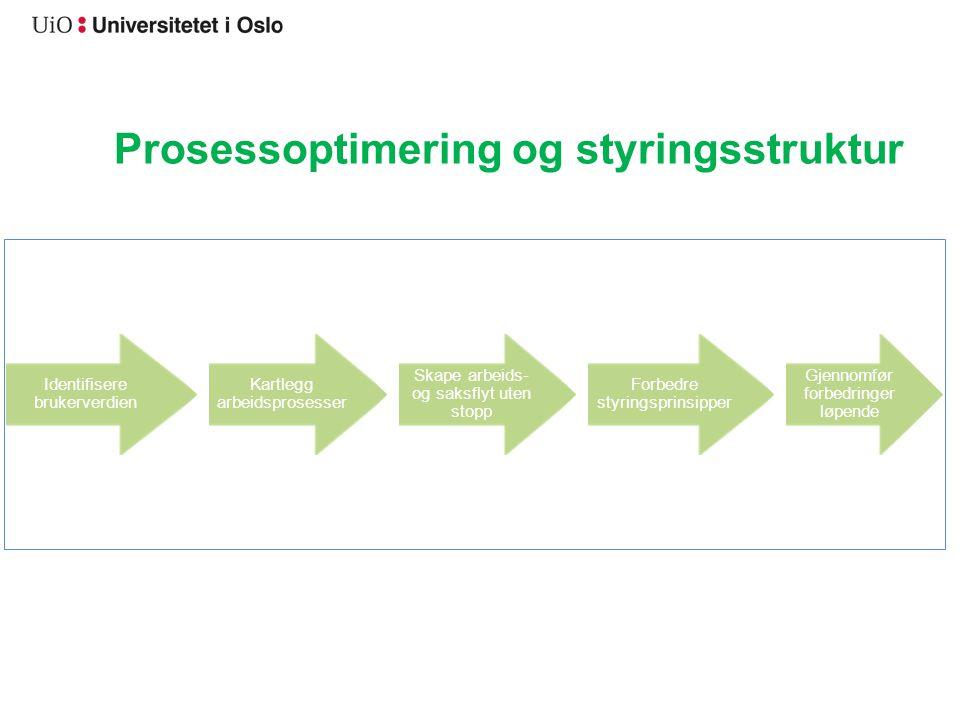 Prosessoptimering og styringsstruktur Identifisere brukerverdien Kartlegg arbeidsprosesser Skape arbeids- og saksflyt uten stopp Forbedre styringsprinsipper Gjennomfør forbedringer løpende